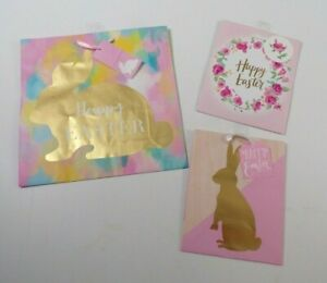 Easter Holiday Gift Bags Happy Easter Lot of 3 Various Sizes Ribbon Bunny Floral