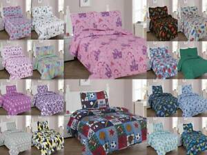 2/3-PC KIDS TEENS SUPER SOFT MICROFIBER PRINTED QUILTING BEDSPREAD BEDDING SET