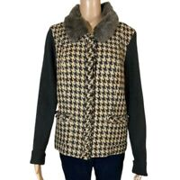 CAbi Jacket Cardigan Sweater Front Zip Removable Faux Fur Collar Pockets