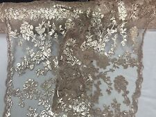 Nude/skin Roses Embroider With Sequins On A Vintage Mesh Lace Fabric-by the Yard