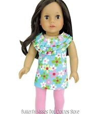 Flower Ruffle Top + Pink Leggings 18 in Doll Clothes Fits American Girl