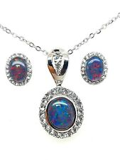 A Genuine Natural Triplet Opal Pendant and Earrings set in Stainless Steel