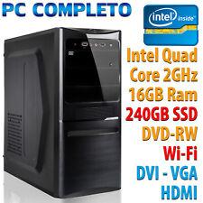 Ordinateur de Bureau Fixe Assemblé Intel Quad Core RAM 16GB SSD 240GB DVD Wifi