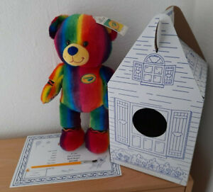 BUILD A BEAR RAINBOW STRIPED COLOURED CRAYOLA TEDDY + CERT AND CONDO BOX BNWT