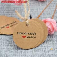 100x Handmade with Love Kraft Paper Card Gift Tag Label DIY Party Wedding Craft