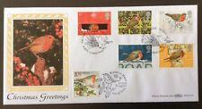 30.10.95 Christmas, Robins, Doubled, Isle Of Man, Bird, 10.10.95. Benham FDC SHS