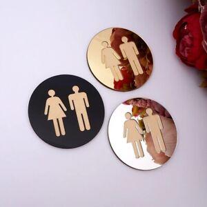 3D Acrylic Mirror Round Toilet Door Sign Men Women Bathroom Modern Wall Sticker