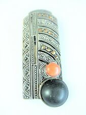 Art Deco Tuchclip Silver 800 with Onyx and Coral, 0.4oz
