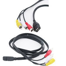 USB A Female to 3 RCA Male Line Cable AV PC TV Audio Video Cord Set-top Box Lead