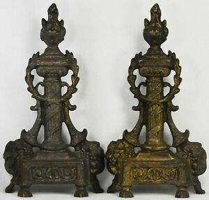 FRENCH STYLE BRONZE FIREPLACE ANDIRON PAIR Chenet Firedog w/ Hardware - Antique