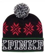 Victoria's Secret Pink Nwt Black Christmas Holiday Knit 2017 Limited Beanie Cap