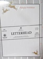 Christmas Letterhead Reindeer Stripes - 8.5x11 injet copier laser 100 Sheets NEW