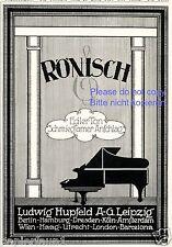 Klavier Rönisch Hupfeld Leipzig Reklame von 1924 Flügel Anschlag Ton Werbung ad