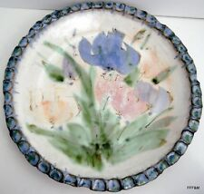 "Hand Thrown Studio Art Pottery Serving Platter 14"" Floral Design Fluted Signed"