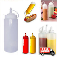 8-32 OZ Plastic Squeeze Bottles Condiment Dispenser Ketchup Mustard Sauce HOT