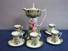 ANTIQUE RS PRUSSIA 12 PC PINK FLOWERS GOLD HIGHLIGHTS FOOTED CHOCOLATE SET