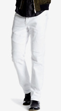 Men's True Religion Jeans Geno Distressed Relaxed Slim Moto Jeans, White Size 27
