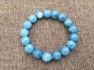"Natural 12mm Blue Larimar Gemstone Round Beads Water Pattern Bracelet 7.5"" AAA"