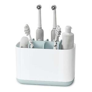 Joseph Joseph Bathroom EasyStore Toothbrush Caddy Toothpaste, Large - White/Blue