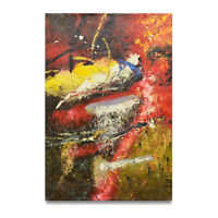 NY Art - Flowing Red & Yellow Abstract 24x36 Original Oil Painting on Canvas