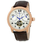 Heritor Piccard Automatic Silver Dial Brown Leather Mens Watch HR2005
