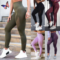 Women Sport Pants High Waist Yoga Fitness Leggings Mesh Seamless Stretch Trouser