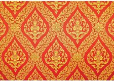 """Traditional Thai Painting in red and Gold Ornate Temple Wall Mural, 66"""" X 96"""""""