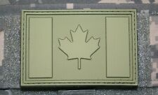 "canada flag patch olive pvc hook and loop backing canadian tactical 3"" x 2"""