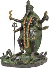 "KALI Bhairavi Mother Jai God Statue 14"" Black Green Brass Hindu Figure Art 6.3KG"
