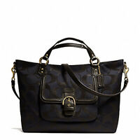 NWT $398 COACH Campbell Izzy Signature Satchel Shoulder Bag Black Purse NEW