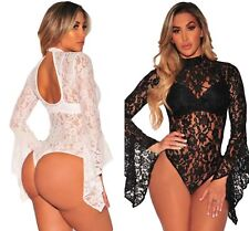 Sexy Black White Sheer Floral Lace Long Bell Sleeve Bodysuit Leotard 8 10 12 14