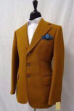 Men's Brown Bespoke Wide Lapel Vintage Tweed Jacket Blazer 40L CC5307