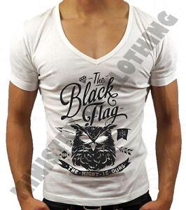 MENS DEEP V NECK T-SHIRT BLACK FLAG OWL DIAMOND FASHION MUSCLE TOP VEST