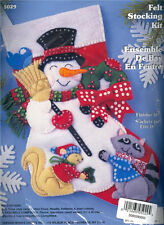 FROSTY SNOWMAN with ANIMALS FELT STOCKING KIT ~ NEW