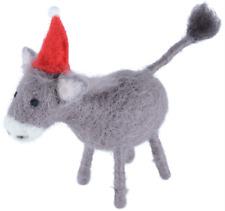 donkey woollen felt decoration santa hat kitsch xmas freestanding ornament - Horse Christmas Ornaments