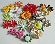 Vintage ENAMEL FLOWER LOT and more Brooch earring ring LOT WOW!!