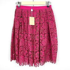 Michael Kors Collection Size 4 Pleated High Waisted Skirt Pink Floral Lace NEW