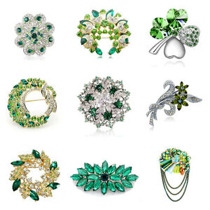 Green Women Brooches Flower Wreath Crystal Stones Women Pins Silver or Gold