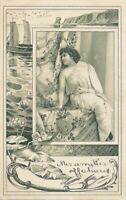 Seated Woman and Water Scene Art Nouveau Postcard - udb - 1903