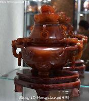 Rare China Agate Onyx Carving ragon Pixiu Lion Beast Head Incense Burner Censer