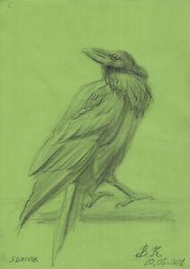 original drawing A4 60PK art samovar oil pastel etude animal raven Signed 2021
