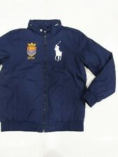 New with tag Ralph Lauren Boys Navy Blue Polo Stuttgart Hooded Jacket L Big Pony