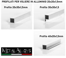 Tubo Quadro 20 x 20 x 1,5 mm in Alluminio per VOLIERE GABBIE diverse lunghezze