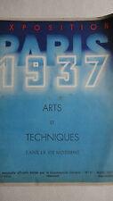 Exposition Paris 1937 Arts et Techniques Dans La Vie Moderne No. 11 Mars 1937