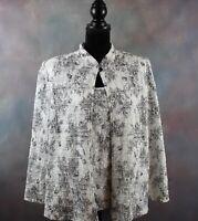 Vintage R&M Richards Women's Blouse Size 16W Black & White Floral Shoulder Pads