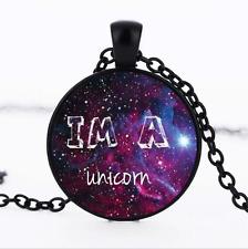 Im a unicorn Black/Bronze/Tibet silver Glass Dome chain Pendant Necklace