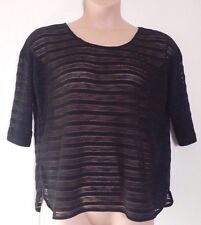 NEXT BLACK STRIPY SEMI SEE THRU KNITTED SHORT SLEEVE LOOSE FIT JUMPER, 18 PETITE