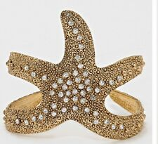 Wide Gold Rhinestone Starfish Chunky Cuff Nautical Bracelet