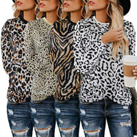 Womens Leopard Print Long Sleeve T Shirt Casual Tops Basic Tee Blouse Sweater