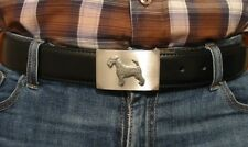 Airedale Terrier Pewter Motif On Alloy Belt Buckle Black Leather Belt Xmas Gift